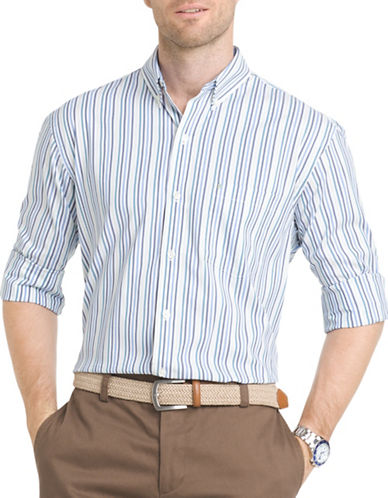 Izod Regular-Fit Poplin Striped Shirt-BLUE-Large