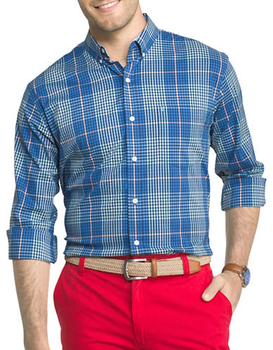 Izod Advantage Plaid Poplin Shirt-STREAM BLUE-Large