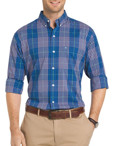 Izod Advantage Plaid Poplin Shirt-PURPLE-X-Large