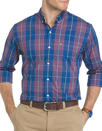 Izod Advantage Plaid Poplin Shirt-RED-Large