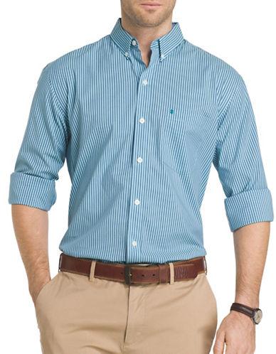 Izod Advantage Bengal Striped Poplin Shirt-BLUE-Medium