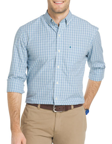 Izod Essential Mini Tattersall Check Woven Poplin Shirt-SAX BLUE-Large