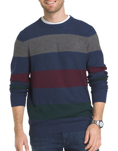 Izod Multi-Striped Textured Sweater-BLUE-Small