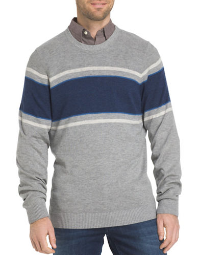 Izod Chest Striped Textured Sweater-LIGHT GREY-Small