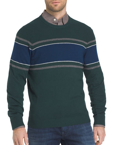 Izod Chest Striped Textured Sweater-GREEN-Small