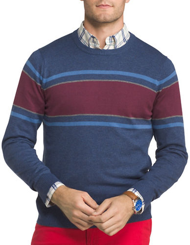 Izod Chest Striped Textured Sweater-BLUE-Medium