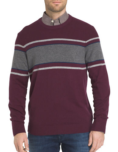 Izod Chest Striped Textured Sweater-PURPLE-Large