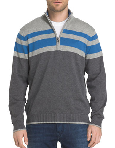 Izod Fieldhouse Chest Stripe Cotton Sweater-GREY-Small