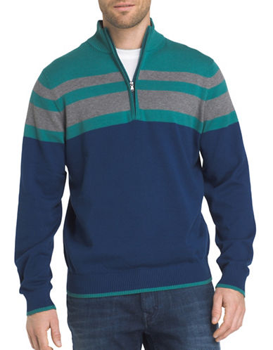 Izod Fieldhouse Chest Stripe Cotton Sweater-BLUE-Large