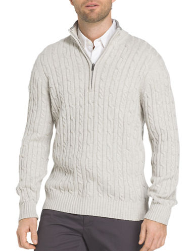 Izod Durham Cable Cotton Sweater-GREY-XX-Large