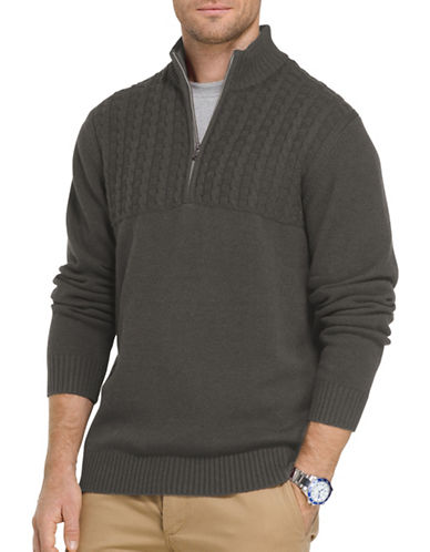 Izod Single Dye Cable Blocked Sweater-GREY-XX-Large