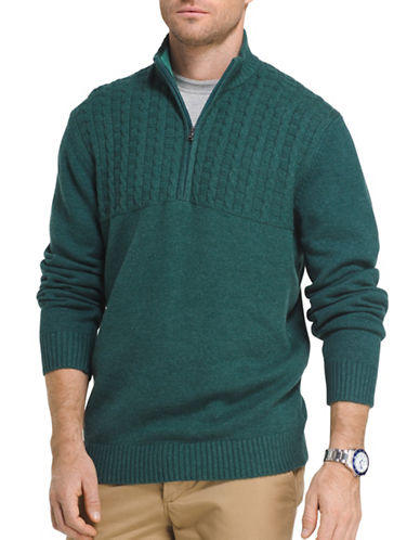 Izod Single Dye Cable Blocked Sweater-GREEN-Small