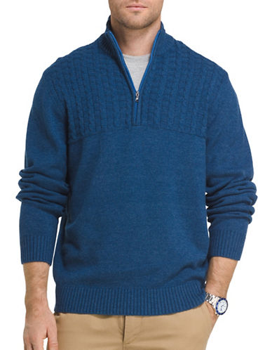 Izod Single Dye Cable Blocked Sweater-BLUE-Large
