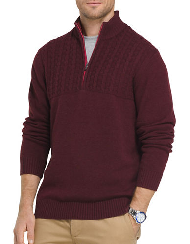 Izod Single Dye Cable Blocked Sweater-PURPLE-Large