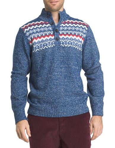 Izod Zig-Zag Sweater-BLUE-Large
