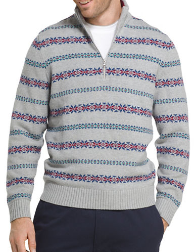 Izod Striped Fair Isle Cotton Sweater-LIGHT GREY-Large