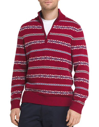 Izod Striped Fair Isle Cotton Sweater-RED-XX-Large