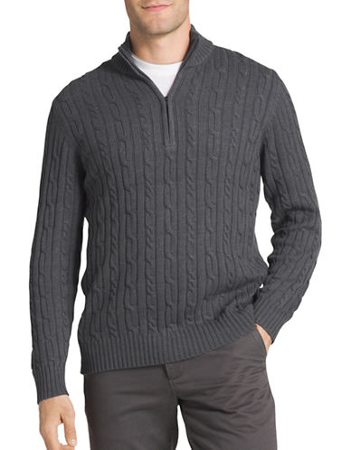 Izod Durham Cable Sweater-GREY-Small