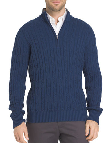 Izod Durham Cable Sweater-BLUE-X-Large