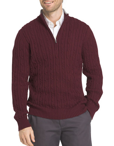 Izod Durham Cable Sweater-PURPLE-Medium