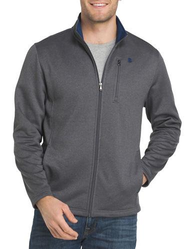Izod Logo Applique Fleece Jacket-GREY-Medium