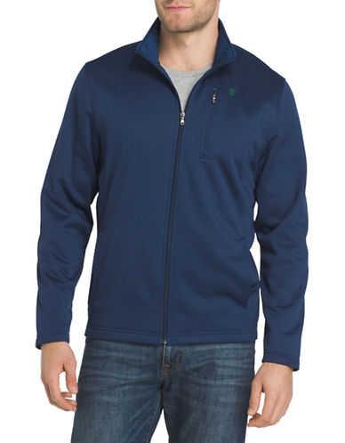 Izod Logo Applique Fleece Jacket-BLUE-X-Large