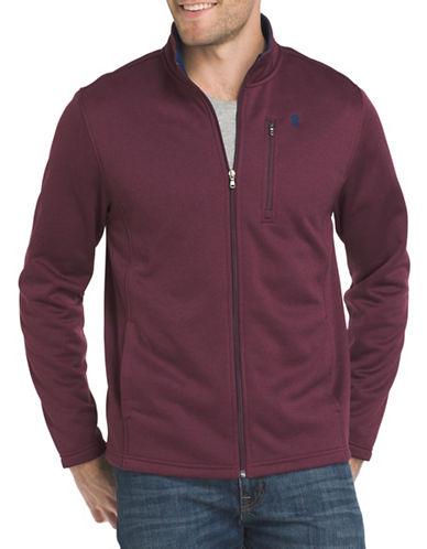 Izod Logo Applique Fleece Jacket-PURPLE-Large