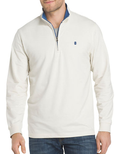 Izod Stand Collar Sweater-BEIGE-X-Large