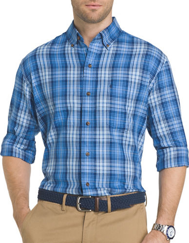 Izod Plaid Fieldhouse Sport Shirt-BLUE-Small