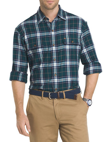 Izod Plaid Sportshirt-BLUE-Small