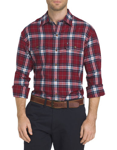 Izod Plaid Sportshirt-RED-Medium