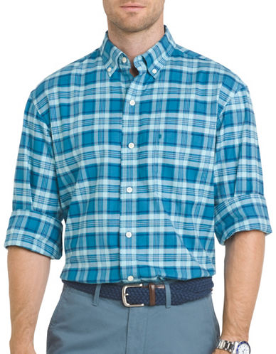 Izod Oxford Plaid Button-Down Shirt-SAX BLUE-XX-Large