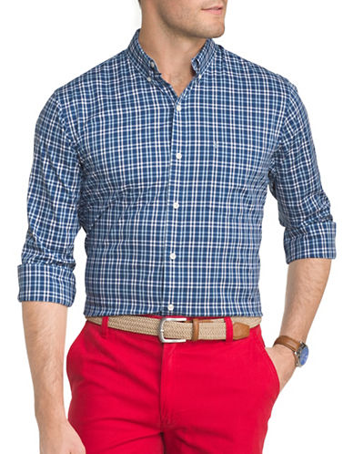 Izod Performance Plaid Sport Shirt-BLUE-XX-Large