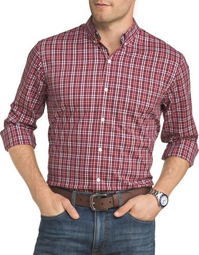 Izod Performance Plaid Sport Shirt-PURPLE-Medium
