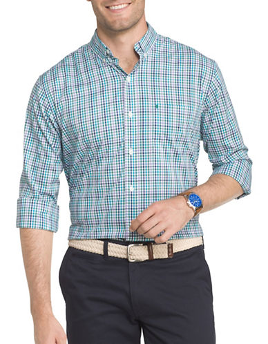 Izod Performance Plaid Sport Shirt-BLUE-Medium