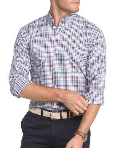 Izod Performance Plaid Sport Shirt-PURPLE-XX-Large