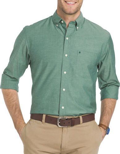 Izod Saltwater Oxford Dress Shirt-GREEN-Small