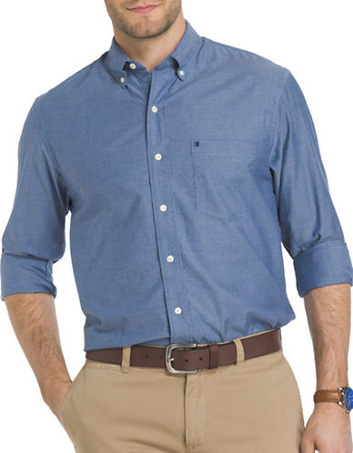 Izod Saltwater Oxford Dress Shirt-BLUE-Medium
