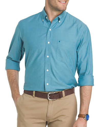 Izod Saltwater Oxford Dress Shirt-BLUE-X-Large