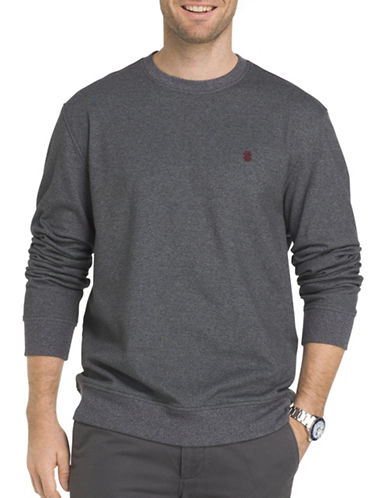 Izod Advantage Stretch Fleece Sweater-GREY-Large Tall