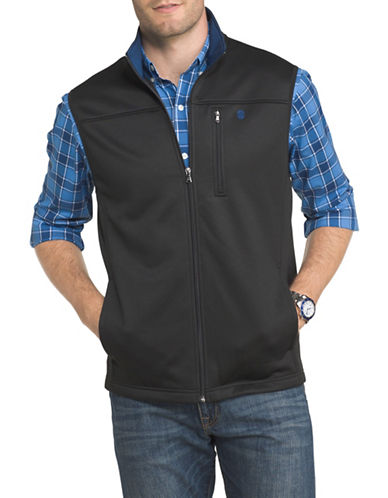 Izod Logo Fleece Vest-BLACK-1X Tall