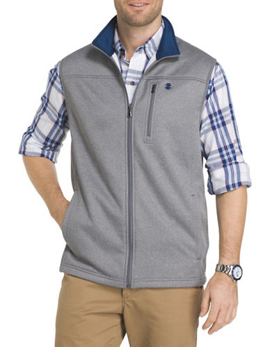 Izod Logo Fleece Vest-GREY-2X Big