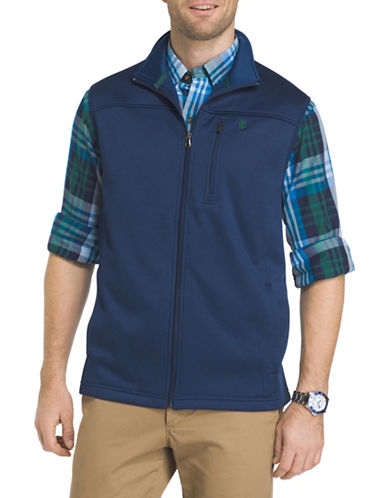 Izod Logo Fleece Vest-BLUE-4X Big