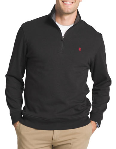 Izod Logo Fleece Sweater-BLACK-2X Tall