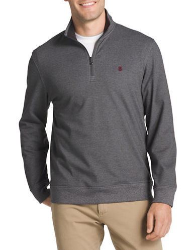 Izod Logo Fleece Sweater-GREY-1X Tall