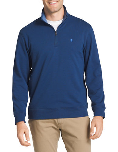 Izod Logo Fleece Sweater-BLUE-1X Tall