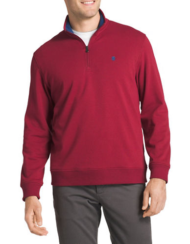 Izod Logo Fleece Sweater-RED-Large Tall