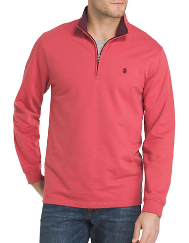 Izod Stand Collar Sweater-RED-Small