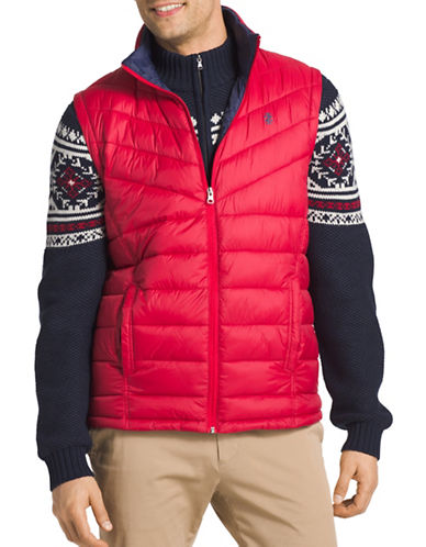 Izod Advantage Performance Puffer Vest-RED-Medium