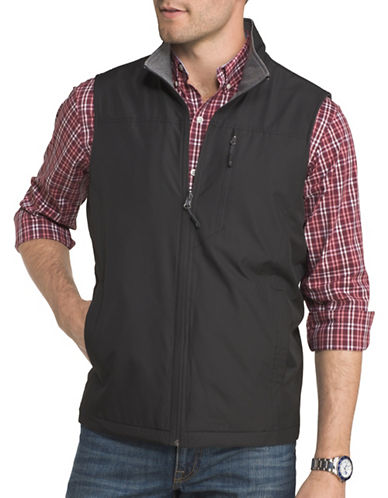 Izod Advantage Performance Reversible Vest-BLACK-X-Large